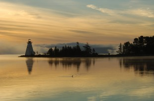 Images at dawn from the waterfront at Baddeck